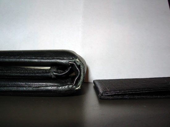 Old wallet versus the new wallet, with nothing in it.